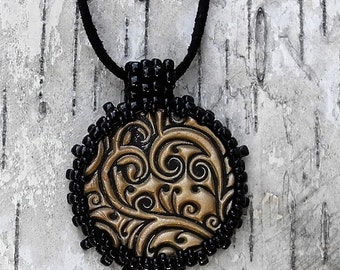 Necklace & Earrings Set  - Bead Weaving - Handmade Polymer Clay Pendants - Suede Cord - Beaded Bale - BOHO