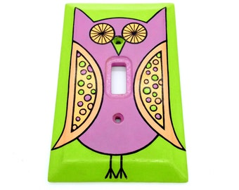 Colorful Polka Dot Mauve Owl Hand Painted Light Switch Plate