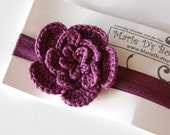 Crocheted Flower on Satin Elastic Headband size Medium Eggplant Plum Purple