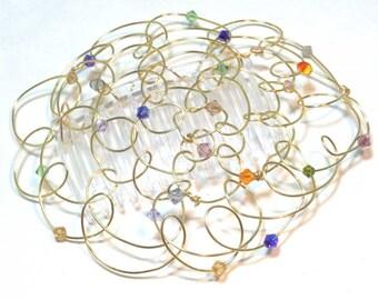 Kippah Kippot Headcovering - Multicolor Crystals - 4 in