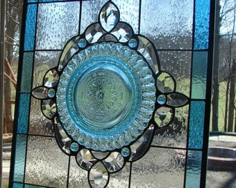Stained glass panel Aqua Blues with clear bevels