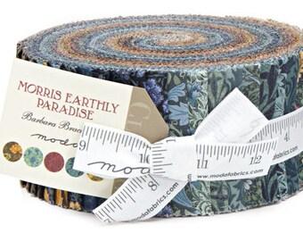 "Moda Morris Earthly Paradise Jelly Roll 2.5"" Precut Fabric Quilting Cotton Strips Barbara Brackman 8330JR"