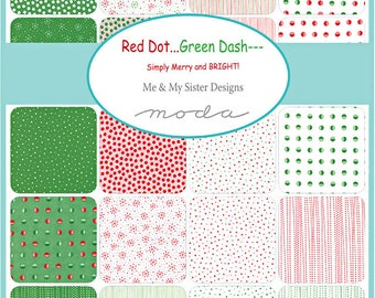 "SQ32 Moda Red Dot Green Dash Precut 5"" Charm Pack Fabric Quilting Cotton Squares Me & My Sister 22300PP"