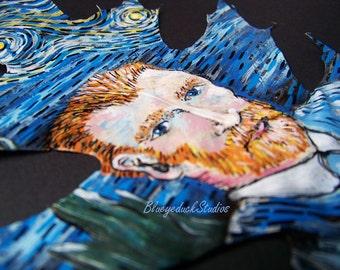 Portrait, Selfie, Impressionist, Vincent Van Gogh, tribute, self portrait, original painting, autumn leaves, fine art, Oak Leaf