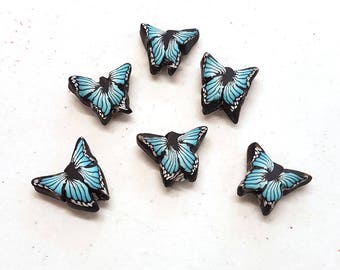 Turquoise Butterfly Beads, Flutteryby Cane, Polymer Clay Beads, Blue Green Beads 6 Pieces