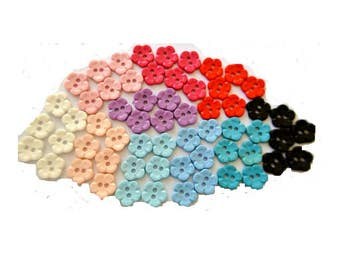 100 Vintage flowers buttons in 10 assorted colors 14mm, sweet buttons
