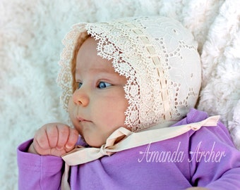 Rose Eyelet and Vintage Lace Bonnet, Baby and Toddler, Cream Color