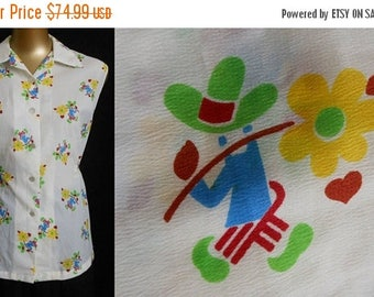 ON SALE Vintage 50s Blouse Mexican Flower Man Novelty Print Shirt, 1950s Sleeveless Button Front Top, Figural Print, Size L Large