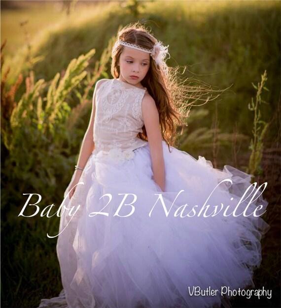 Vintage Nude Dress Ivory Dress Cameo Lace Dress Tulle Dress Flower Girl Dress  Wedding Dress Party Dress Toddler Tutu Dress Girls Dress