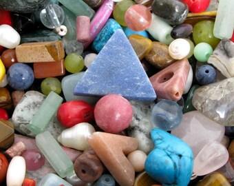 "Gemstone Bead Mix - Huge Variety of Gemstone Beads, 3x4"" Bag Stuffed Full, Jewelry Making Inspiration, Bead Assortment, Mixed Bag of Beads"