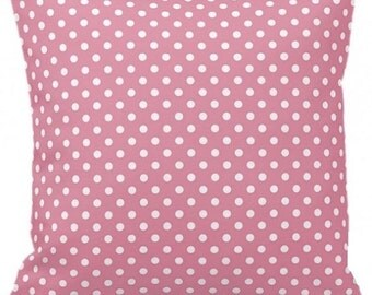 "POLKA DOTS On Light Pink  - Throw Pillow, Decorative Pillow, Pillow Cover, Pillow Insert, Pillow Case - SQUARE- 17"" x 17"" - Zipper Closure"