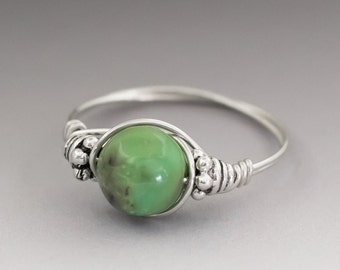 Chrysoprase Sterling Silver Wire Wrapped Bali Bead Ring - Made to Order, Ships Fast!