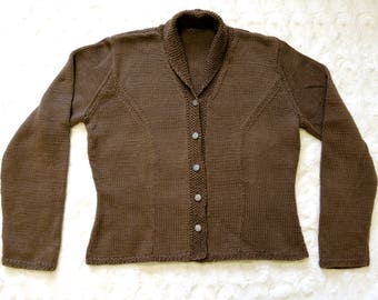 Hand Knit Woman's Brown Cotton Yarn Cardigan Sweater Size Large Thistle Buttons