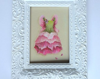 Rose Tutu painting framed original ballet dress art with FRAME The Rose Fairy ballerina nursery decor