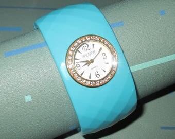 Joan Rivers Aqua Lucite and Rhinestone Clamper Bracelet Watch