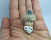 Miniature Carved Santa Pin Brooch, Primitive Driftwood Feather Tree Ornament