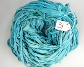 Silk CHIFFON Ribbon, Sari Silk Chiffon ribbon, Chiffon ribbon, teal sari ribbon, teal ribbon, tassel supply, weaving supply, knitting supply
