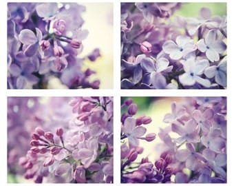 Purple photography set lilac flowers purple wall art set of four photographs floral decor lavender wall art 5x7 8x10 11x14