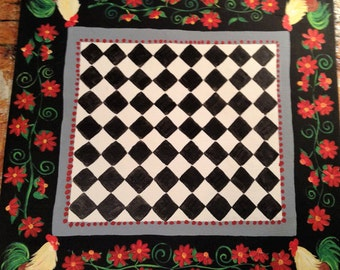 """Floorcloth / French Country/ ROOSTER / 24""""x26""""  Ready To Ship!!!"""