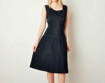 Vintage Black Pleated & Pintucked Dress