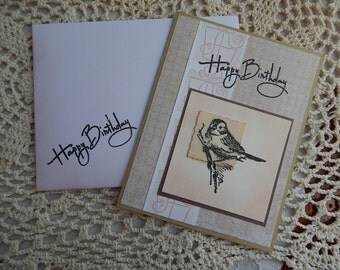 Handmade Birthday Card: bird, greeting card, complete card, handmade, balsampondsdesign, tan, complete inside, complete outside