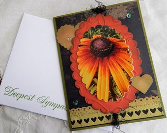 Handmade Sympathy Card: flower, sympathy, greeting card, green, complete card, handmade, balsampondsdesign