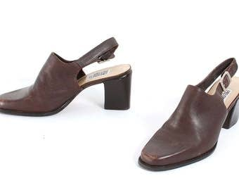 size 9 MULES brown leather 80s 90s SLINGBACK high heel slip on CLOGS