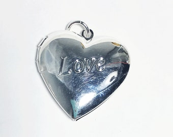 sample sale  silver r heart Locket Pendant 25mm