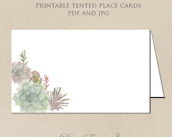 Printable Place Cards - Succulent Watercolor Flowers - DIY Seating Cards - Design only - PDF and JPG
