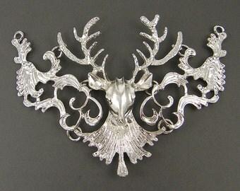 Silver Deer Head Pendant Large Ornate Antler Silver Pendant Breastplate Statement Necklace Finding  LG5-11 1