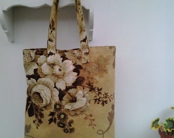 Handmade Vintage Floral Sanderson rose fabric Tote Bag / Book Bag - Autumn colours