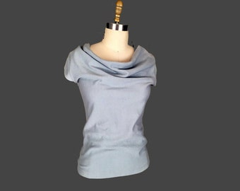 Alena Designs - Pauline - Drape Neck Top with Cap Sleeves  - Organic Cotton French Terry - Light Grey