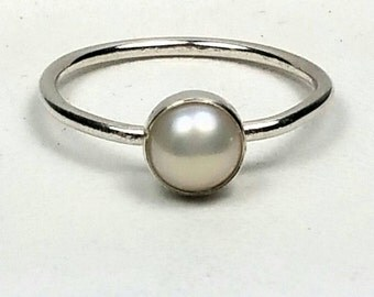 Sterling Silver Pearl Ring, Small Pearl Ring, Pearl Stacking Ring, June Birthstone Ring, Size 6 Ring, Silver Pearl Ring  Maggie McMane