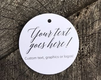 Custom Message Favor Tags - Round Logo Thank you tags - Circle Custom Text Wedding Gift Tags -Bridal Shower Tags - Set of 50