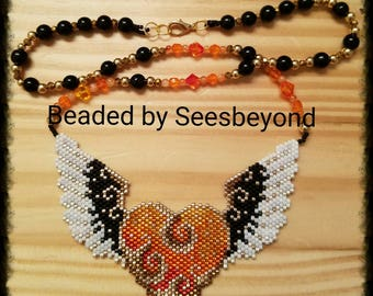 Winged Heart on Fire Necklace,  Hand Beaded