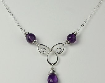 Amethyst Gemstone, Purple Amethyst, Sterling Silver Celtic Spirals, Faceted Briolette, Wire Wrapped Amethyst, Sterling Silver Wire, Handmade