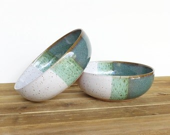 Stoneware Pasta Bowls in Sea Mist and White Glazes - Set of 2