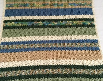 Crocheted  Blanket Shades of Green Blue Cream Tan Varigated  Lap Blanket Throw  Adult  Boy Girl  Toddler 38 X 42  Acrylic Baby Gift Warm