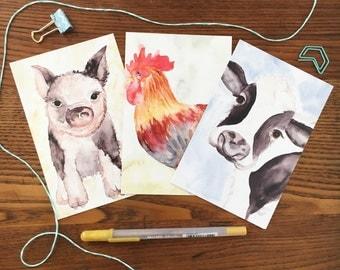 Farm Animals. Farm Animal Postcards. Pig Card. Cow Card. Rooster Card. Farm Postcards. Set of 3 Postcards. Gift Under 10. Thank you cards
