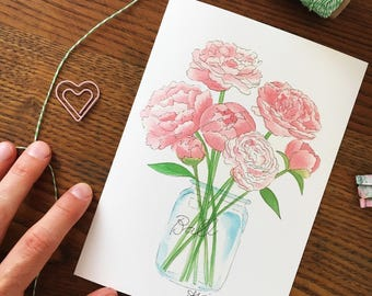 Peony Art. Watercolor Peonies. Floral Watercolor. Flower Art Print. Mason Jar Bouquet. 5x7 Print. Ready to Frame. Gift Under 10. Home Decor