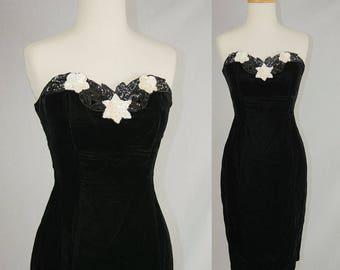 Vintage 1980s Dress Black Velvet and White Sequin Star Wiggle Prom Dress