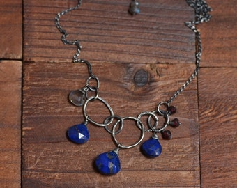 Sterling Silver Lapis Lazuli Necklace - Oxidized Silver Link Necklace - Labradorite Necklace - Garnet Necklace - Rustic Boho Necklace