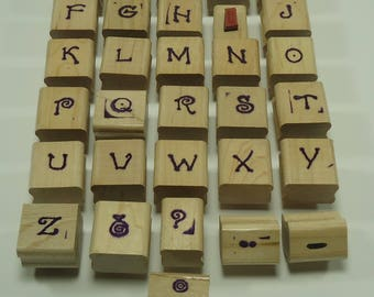Complete Alphabet Wood Mounted Rubber Stamp Set