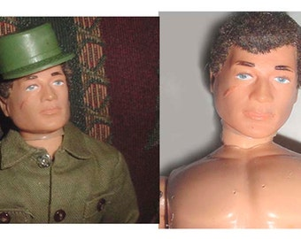 GI Joe - Hasbro GI Joe - 1960 s Era -with Uniform - Gun - Hat - Shoes + Back Pack -Grenades