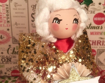 Christmas queen doll holiday decor art doll vintage retro inspired red  green gold centerpiece tree topper