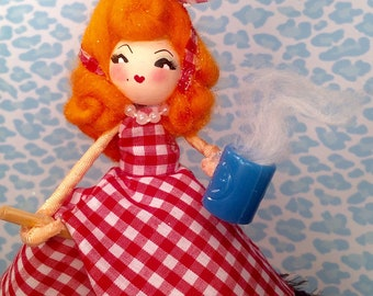 Kitchen witch art doll home decor red white blue sassy coffee witch orange hair doll witch ornament broom stick