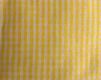 2 Yards of Vintage Sunny Yellow and White Gingham Check Georgette Fabric