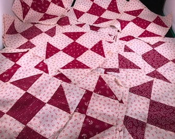 Set of 36 Vintage Machine Stitched Maroon and Pink Floral Calico and Cotton Shoofly Pattern Quilt Blocks