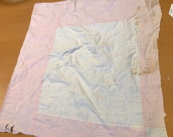 Vintage Hand Quilted Pink and White Embroidery Thinner Cutter Quilt Piece