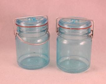 Vintage Aqua Plastic Mason Jar Salt and Pepper Shaker Set